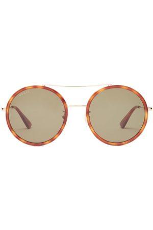 Gucci Round Tortoiseshell-acetate And Metal Sunglasses - Womens