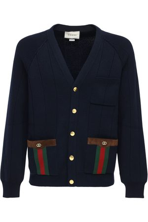 Gucci Gg & Web Wool Blend Knit Cardigan