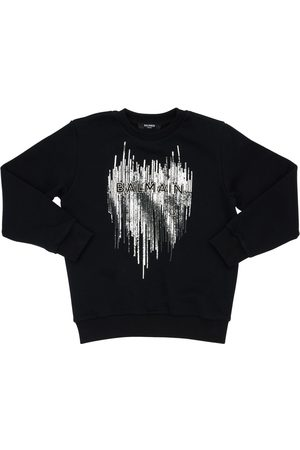Balmain Girls Sweatshirts - Sequined Crewneck Cotton Sweatshirt