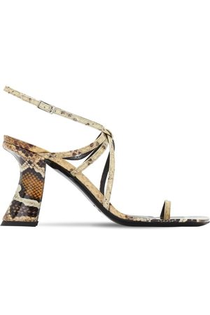 By Far 95mm Elsa Snake Print Leather Sandals