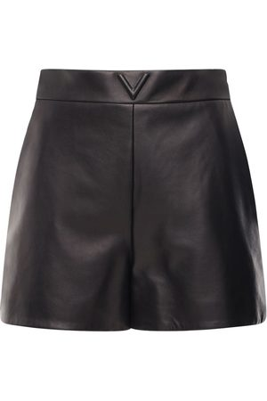 VALENTINO V Logo Belted Leather Shorts