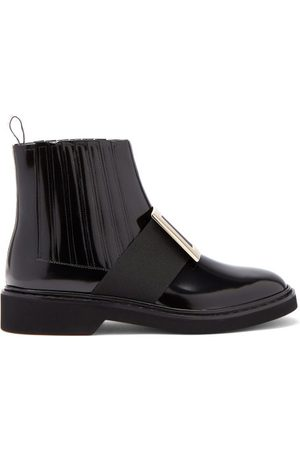Roger Vivier Rangers Buckled Patent-leather Chelsea Boots - Womens