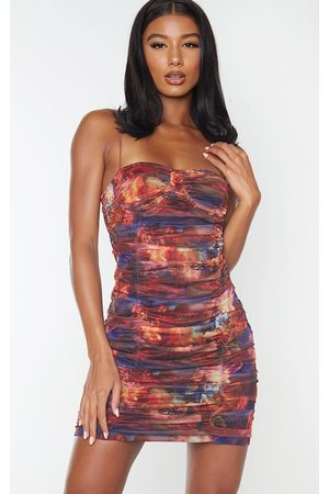 PRETTYLITTLETHING Multi Print Mesh Cup Detail Ruched Bodycon Dress