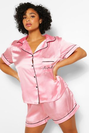 Boohoo Women Pajamas - Womens Plus Satin Shorts Pj Set - - 18