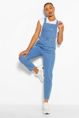 Boohoo Womens Denim Roll Up Hem Short Dungaree - - 2