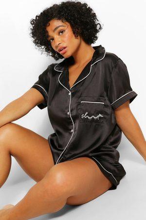 Boohoo Womens Plus Satin Shorts Pj Set - - 18
