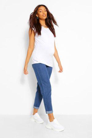Boohoo Womens Maternity Roll Hem Over The Bump Boyfriend Jeans - - 4
