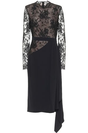 Alexander McQueen Lace and crêpe midi dress