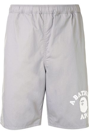 A BATHING APE® Logo-print track shorts - Grey