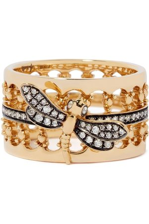 ANNOUSHKA 18kt Dragonfly diamond crown ring - 18ct