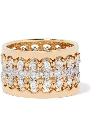 ANNOUSHKA 18kt and white Crown double diamond ring stack - 18ct