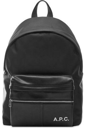 A.P.C Logo Leather Nylon Backpack