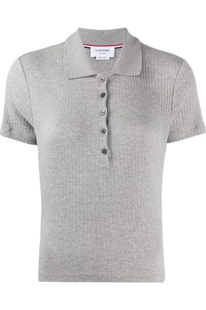 Thom Browne Women Polo Shirts - 4-Bar side insert ribbed polo shirt - Grey