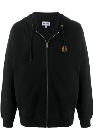 Kenzo Cotton zip hoodie with tiger emblem