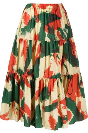 Kenzo Abstract-print flared skirt - Neutrals