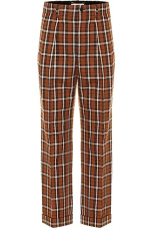 Saint Laurent Checked virgin wool straight pants