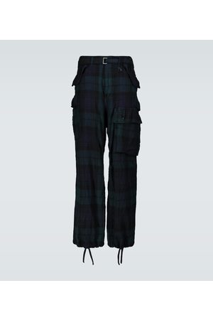 SACAI Men Cargo Pants - Check Shrivel wool cargo pants