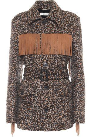 Saint Laurent Leopard-print wool and alpaca jacket