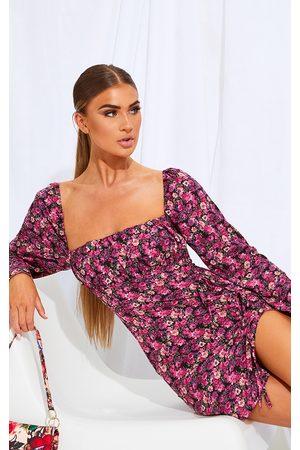 PRETTYLITTLETHING Floral Print Bow Detail Side Split Bodycon Dress
