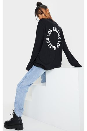 PRETTYLITTLETHING LA Oversized Long Sleeve T Shirt