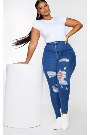PRETTYLITTLETHING Women Skinny - Plus Mid Distressed Disco Jean