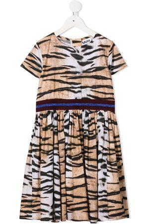 Molo Kids Girls Casual Dresses - Tiger print dress - Neutrals