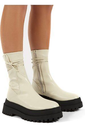 Public Desire US Finale Bone Chunky Sole Ankle Wrap Boots - US 5