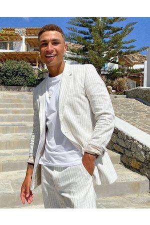 ASOS Wedding slim suit jacket in pin stripe