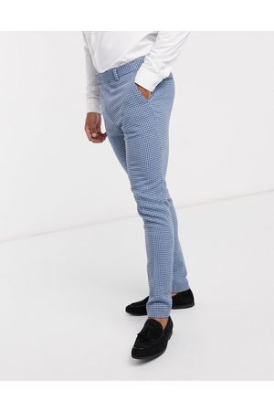 ASOS Wedding super skinny wool mix suit pants in houndstooth check