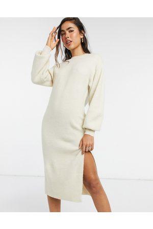 ASOS Crew neck midi dress with volume sleeve-Cream