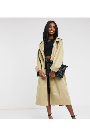 ASOS ASOS DESIGN Tall oversized utility trench coat in stone