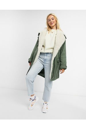 ASOS Waterfall parka with fleece lining in khaki