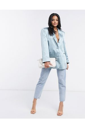 ASOS Satin dad suit blazer in powder