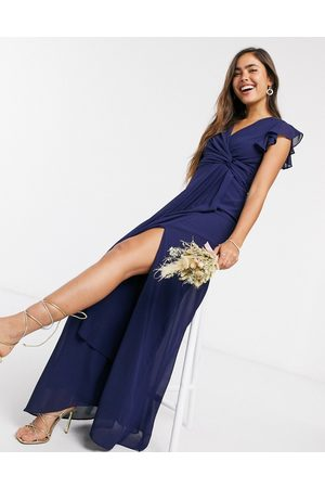 TFNC Bridesmaid flutter sleeve ruffle detail maxi dress in navy