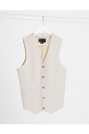 ASOS Wedding slim suit suit vest in stone crosshatch