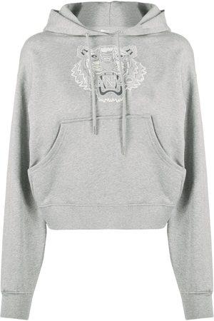 Kenzo Tiger motif cotton hoodie - Grey