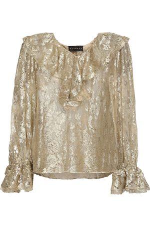 Dundas Sheer Coated Lace Shirt W/ Ruffles