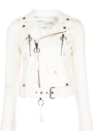 OFF-WHITE Fringe details biker jacket