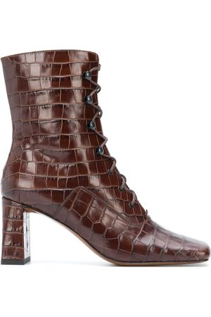 By Far Square-toe crocodile ankle boots