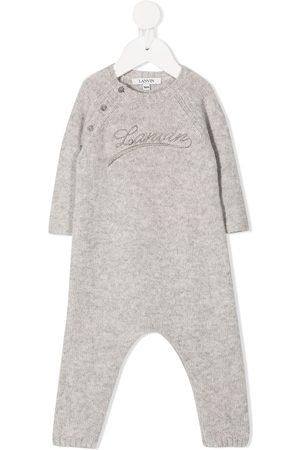 Lanvin Logo print knitted romper - Grey