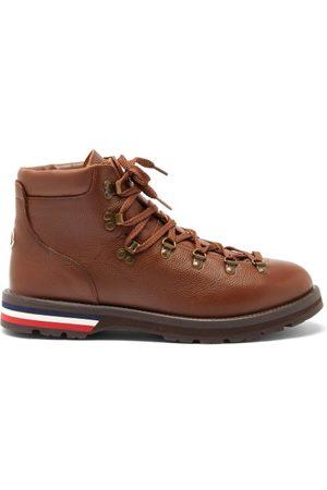 Moncler Logo-appliqué Grained-leather Hiking Boots - Mens