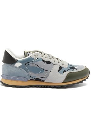 VALENTINO GARAVANI Rockrunner Camo-print Suede And Leather Trainers - Mens - Grey