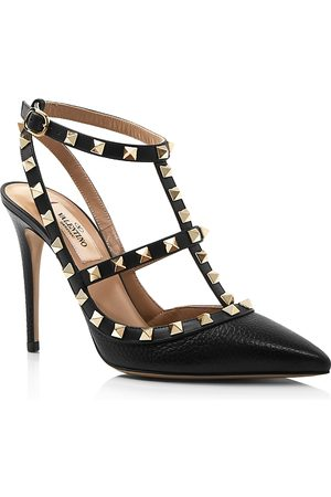 VALENTINO GARAVANI Women's Rockstud Leather T-Strap High-Heel Pumps
