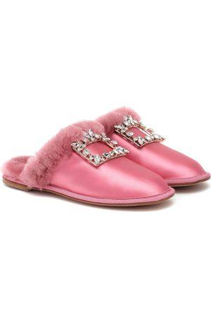 Roger Vivier Women Flat Shoes - Hotel Vivier Strass satin slippers