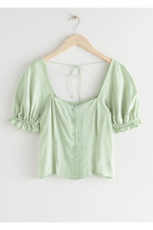 & OTHER STORIES Buttoned Puff Sleeve Top
