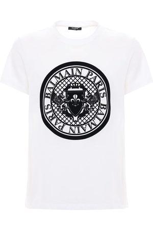 Balmain Flocked Coin Cotton Jersey T-shirt