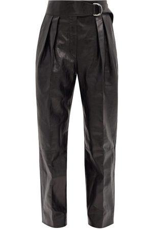 Jil Sander Women Leather Pants - Napoleon Pleated Leather Wide-leg Trousers - Womens