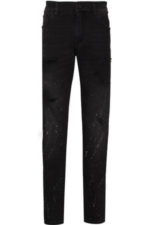 Dolce & Gabbana Splatter-paint tapered-leg jeans