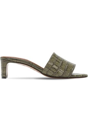 Souliers Martinez 50mm Croc Embossed Leather Sandals