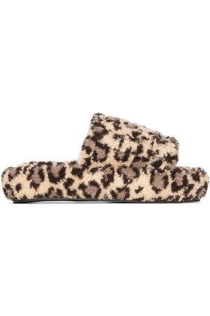 Natasha Zinko Leopard print slippers - Neutrals